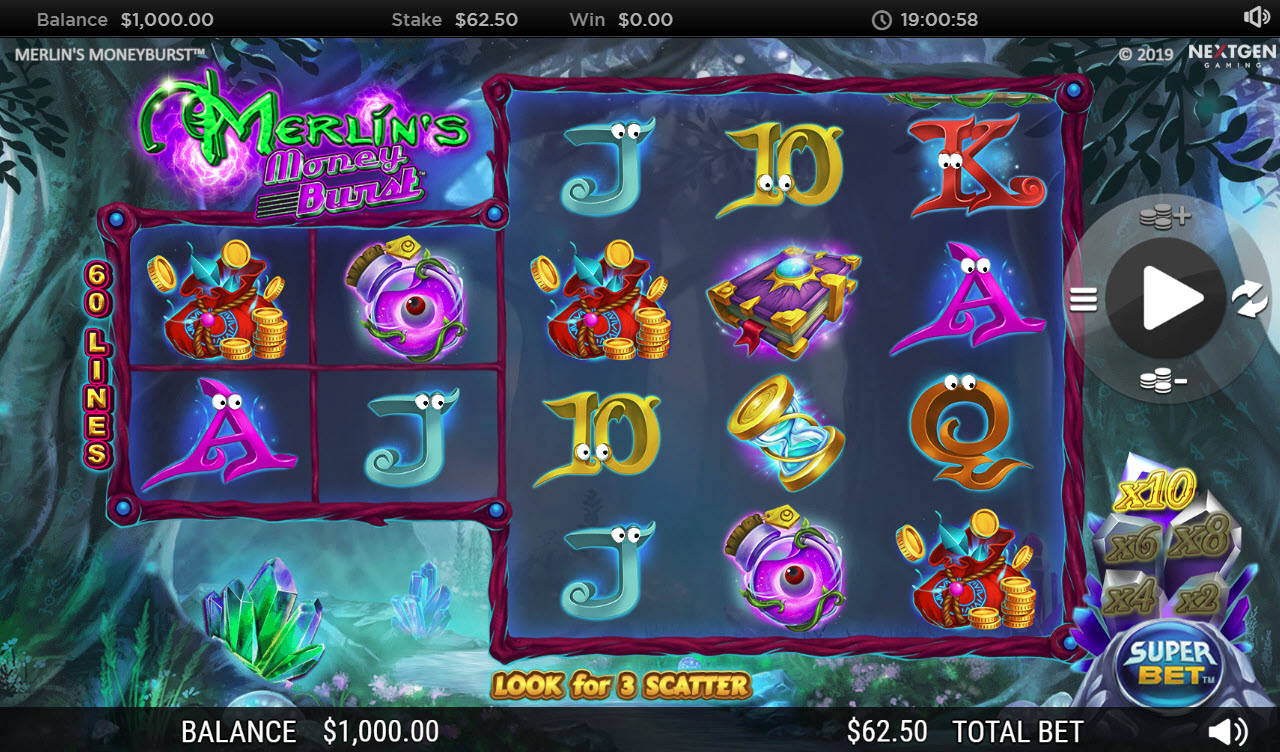 Play slots at Euro Slots: Euro Slots featuring the Video Slots Merlin's Money Burst with a maximum payout of $90,000