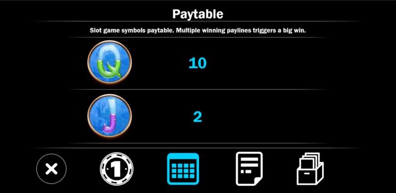 Mermaid Treasure :: Paytable - Low Value Symbols