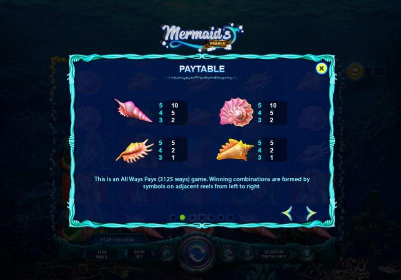 Mermaid's Pearls :: Paytable - Low Value Symbols