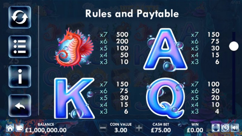 Mermaid's Wealth :: Paytable - Medium Value Symbols