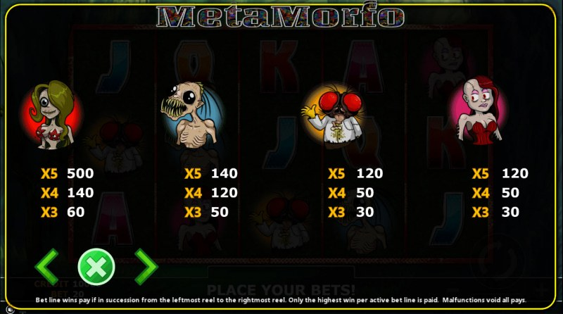 Metamorfo :: Paytable - High Value Symbols