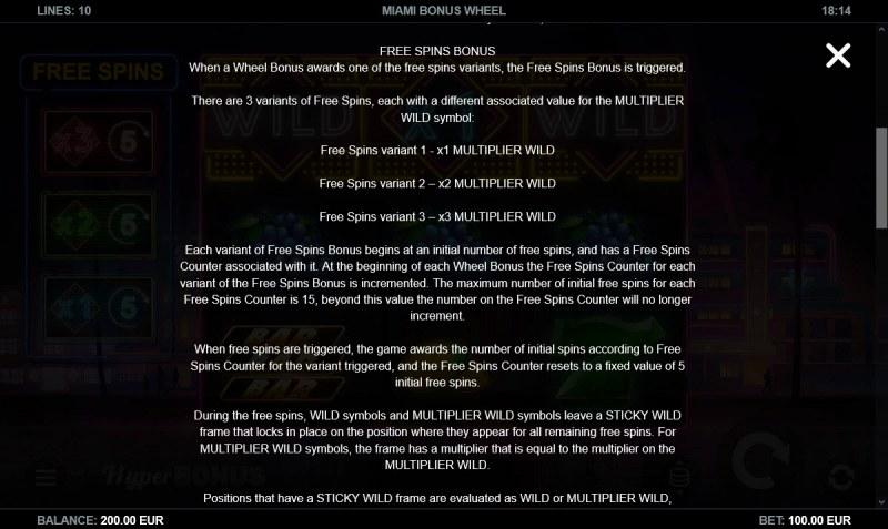 Miami Bonus Wheel :: Feature Rules