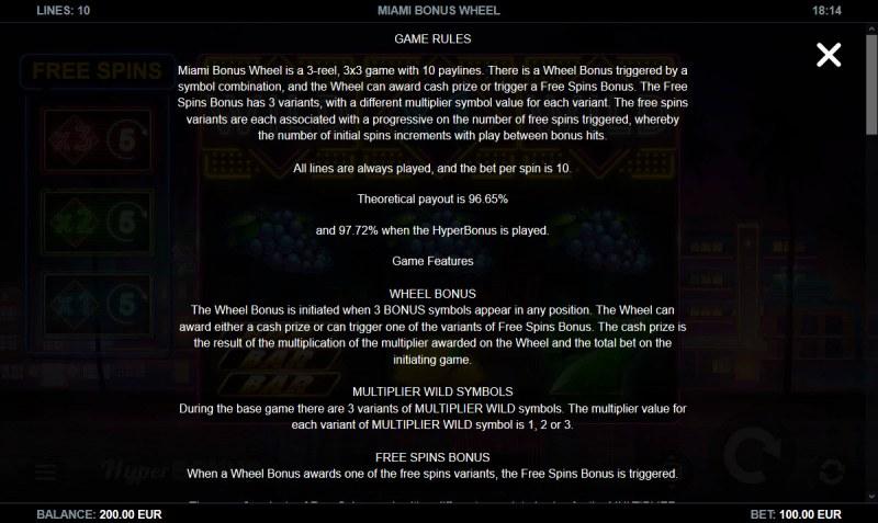 Miami Bonus Wheel :: General Game Rules