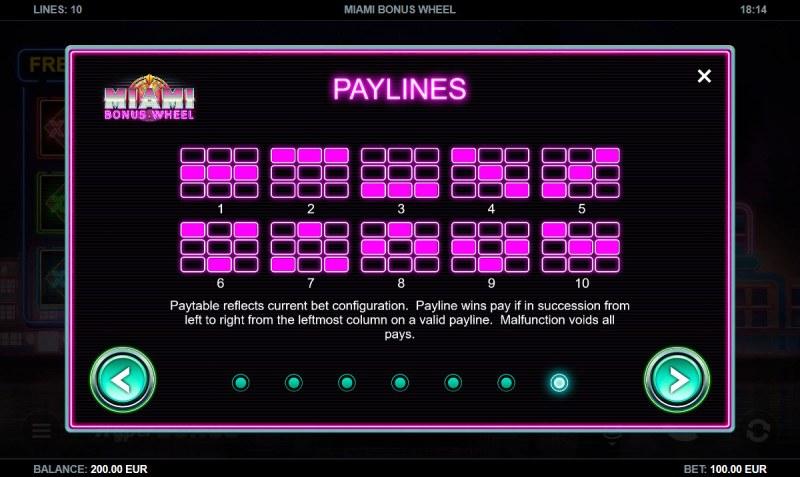 Miami Bonus Wheel :: Paylines 1-10