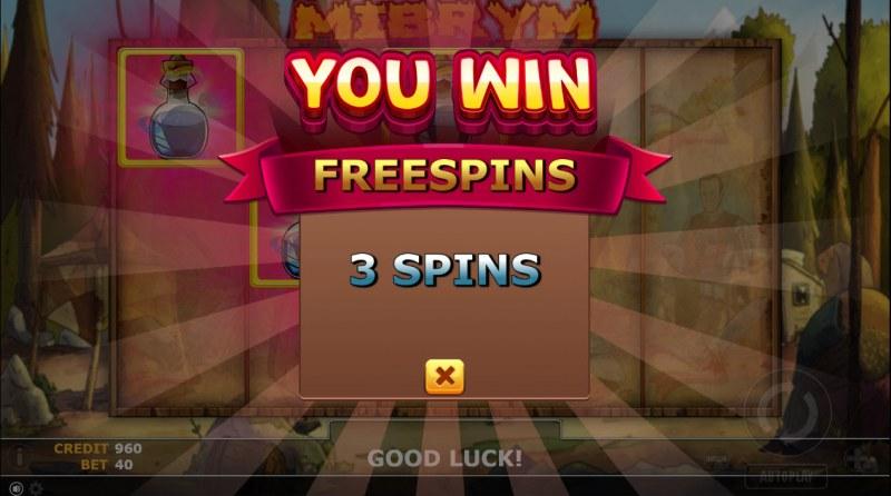 Mibrym :: 3 free spins awarded