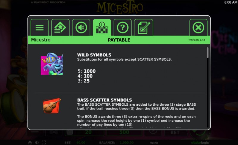 Micestro :: Wild and Scatter Rules