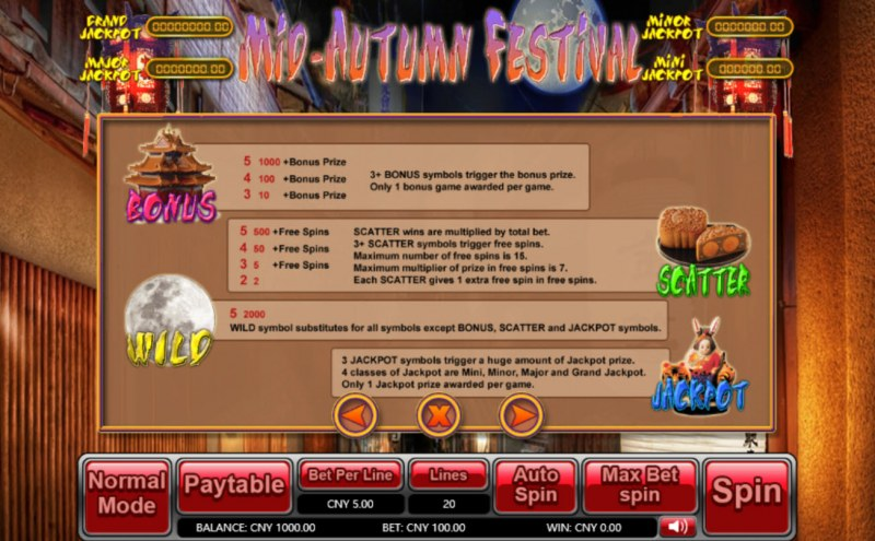 Mid-Autumn Festival :: Bonus, Jackpot, Scatter and Wild Rules