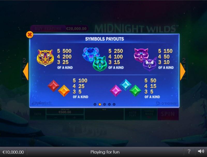 Midnight Wilds :: Paytable