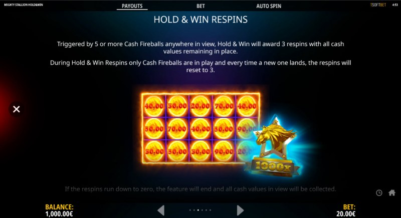 Mighty Stallion Hold & Spin :: Hold & Win Respins
