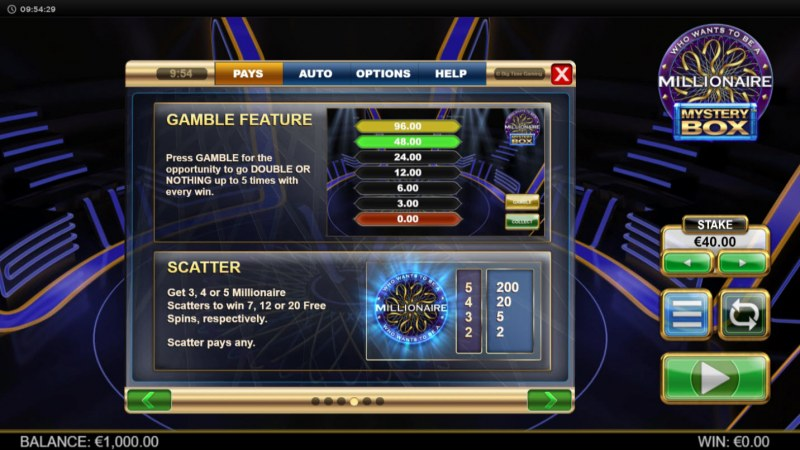 Millionaire Mystery Box :: Scatter Symbol Rules