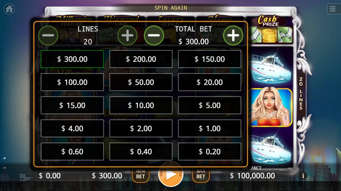Millionaires :: Available Betting Options