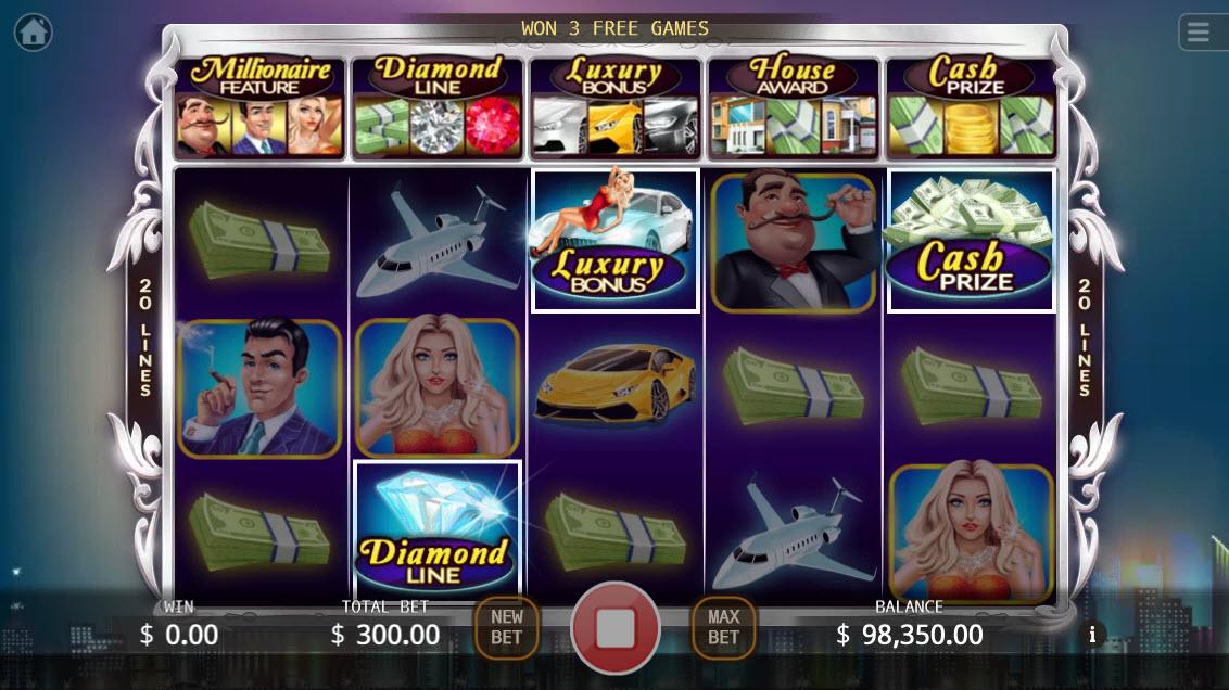Millionaires :: Scatter symbols triggers bonus feature