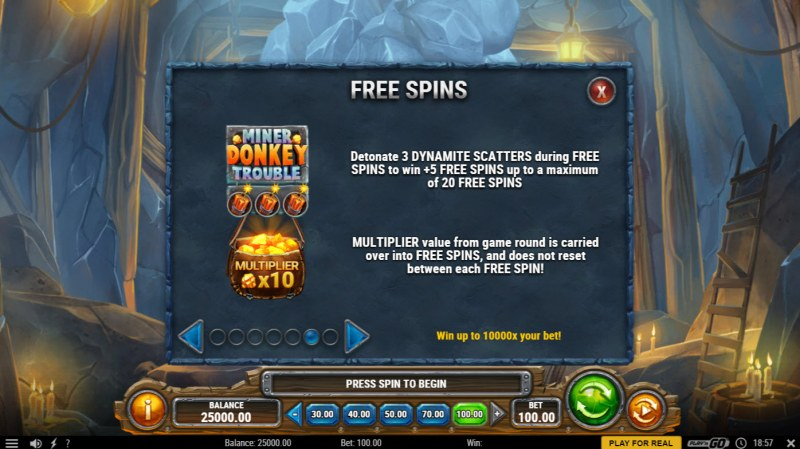 Miner Donkey Trouble :: Free Spin Feature Rules