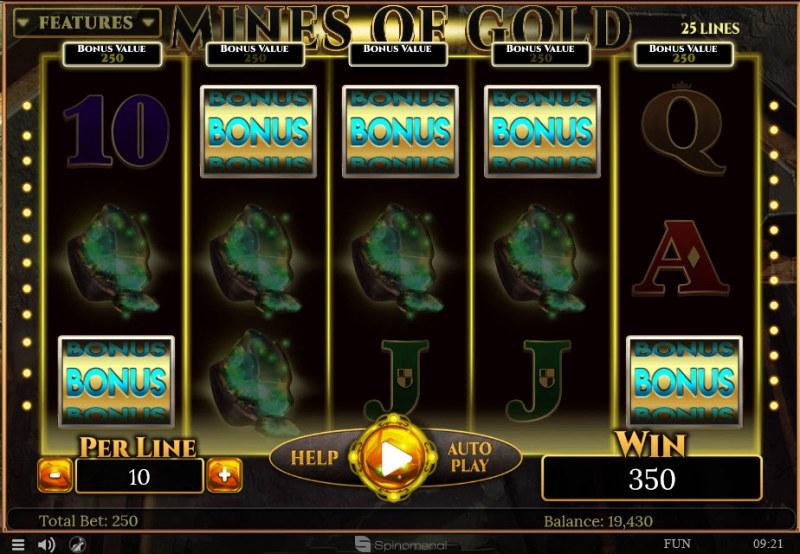 Mines of Gold :: Scatter symbols triggers bonus wheel feature