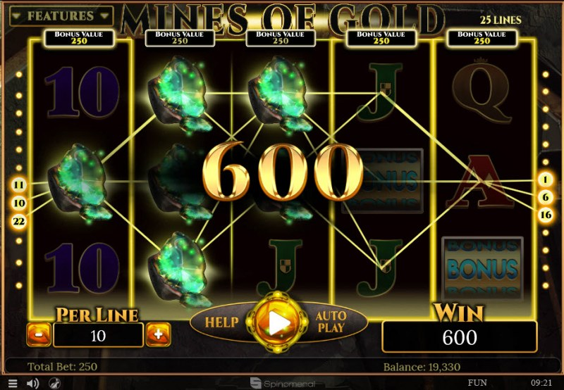 Mines of Gold :: Multiple winning paylines