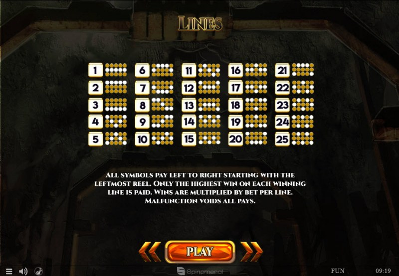 Mines of Gold :: Paylines 1-25