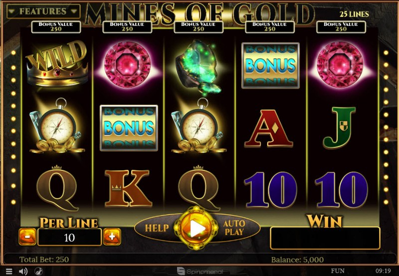 Play slots at Bet Shah: Bet Shah featuring the Video Slots Mines of Gold with a maximum payout of $15,000