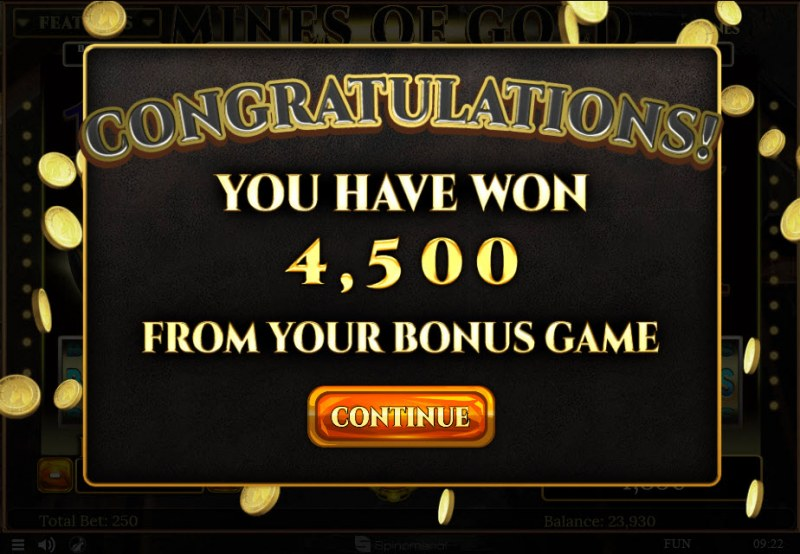 Mines of Gold :: Total bonus payout