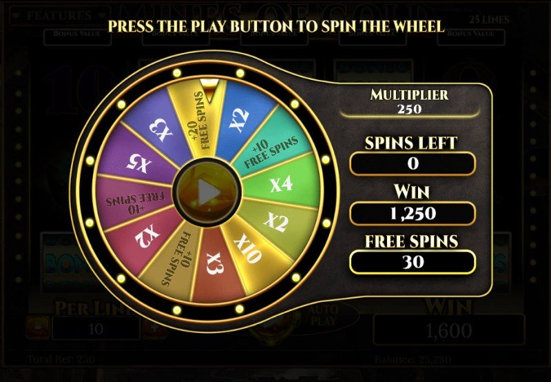 Mines of Gold :: Landing on free spins wheel segment triggers the Free Spins feature