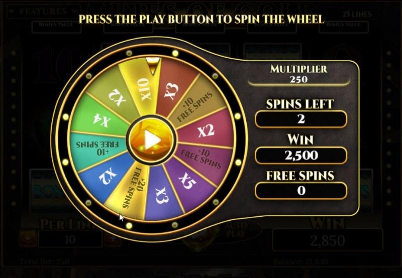 Mines of Gold :: Bonus Wheel Game Board