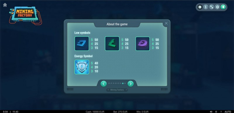 Mining Factory :: Paytable - Low Value Symbols