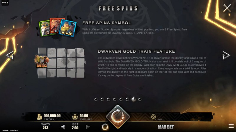 Mining Fever :: Free Spin Feature Rules