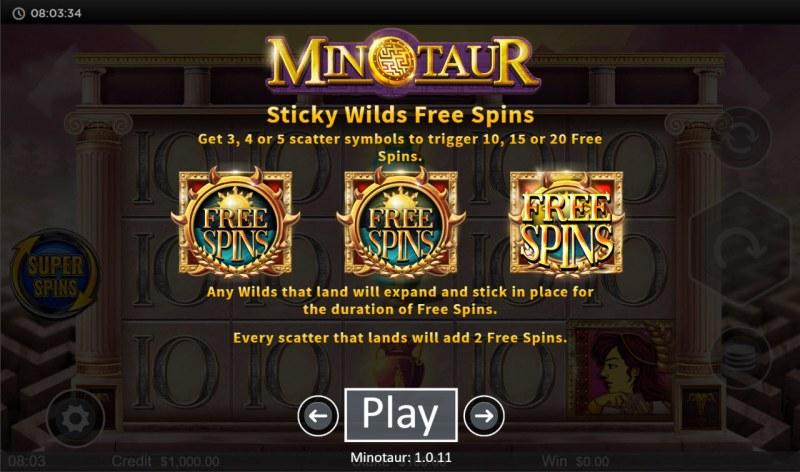Minotaur :: Sticky Wilds Free Spins