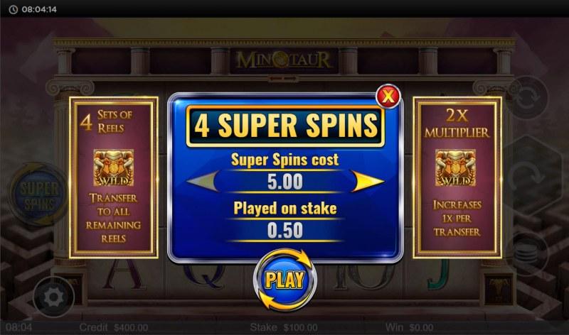 Minotaur :: Super Spins Feature