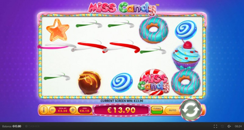 Miss Candy :: Winning symbols are removed from the reels and new symbols drop in place