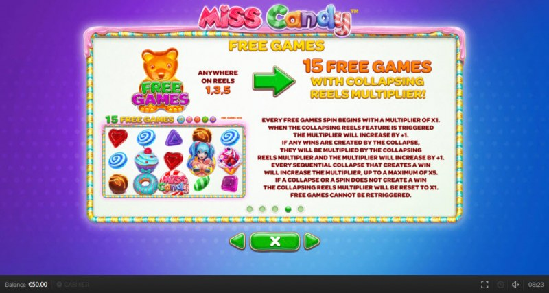 Miss Candy :: Free Spins Rules