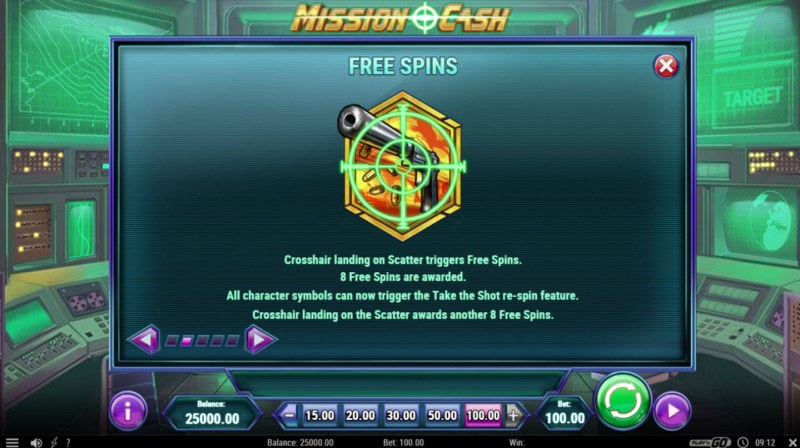 Mission Cash :: Free Spins Rules