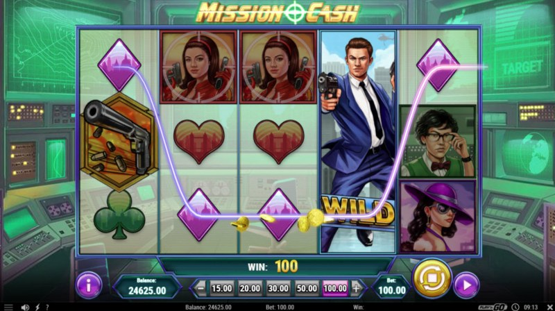 Mission Cash :: Stacked wild triggers a four of a kind