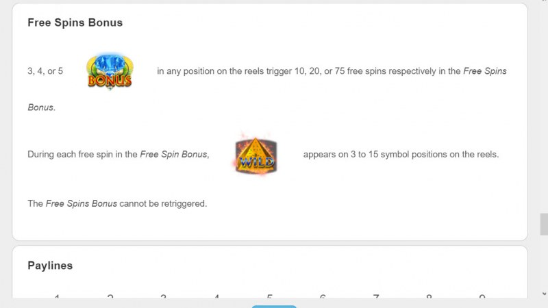 Mistress of Egypt Diamond Spins :: Free Spin Feature Rules