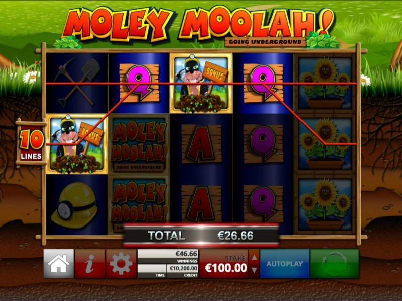 Moley Moolah Going Underground :: A four of a kind win