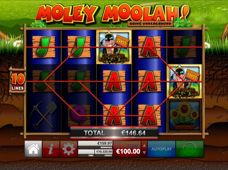 Moley Moolah Going Underground :: Multiple winning paylines