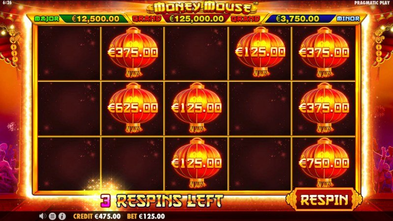 Money Mouse :: Respins are reloaded for each additional lantern landing on the reels