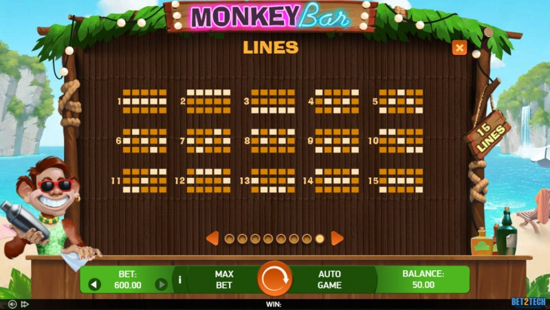Monkey Bar :: Paylines 1-15