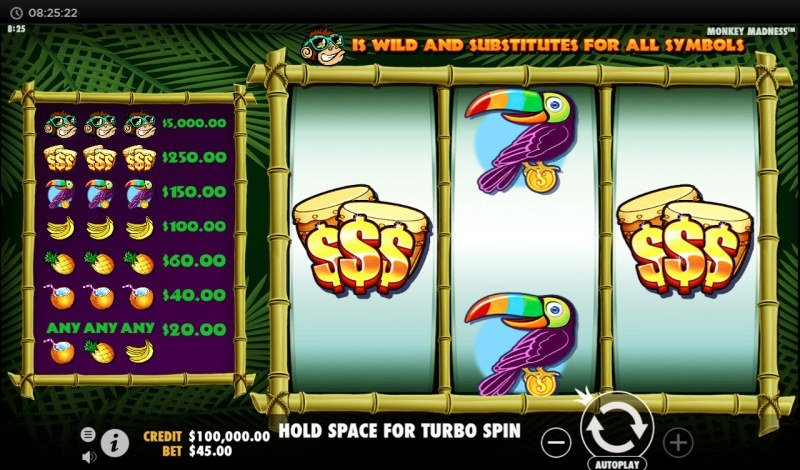 Play slots at Oshi: Oshi featuring the Video Slots Monkey Madness with a maximum payout of $45,000