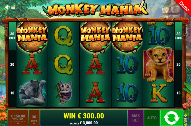 Monkey Mania :: Scatter symbols triggers the free spins bonus feature