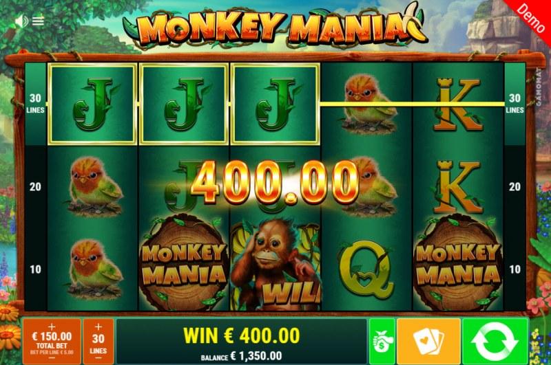 Monkey Mania :: A three of a kind win