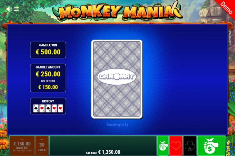 Monkey Mania :: Red or Black Gamble Feature