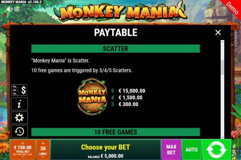 Monkey Mania :: Scatter Symbol Rules
