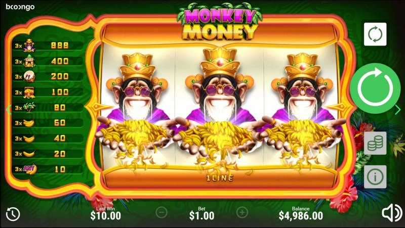 Monkey Money :: A three of a kind win