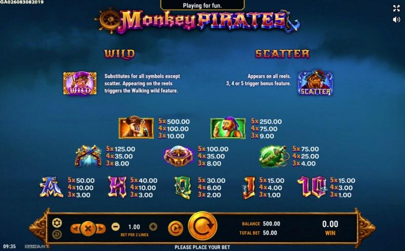 Monkey Pirates :: Paytable