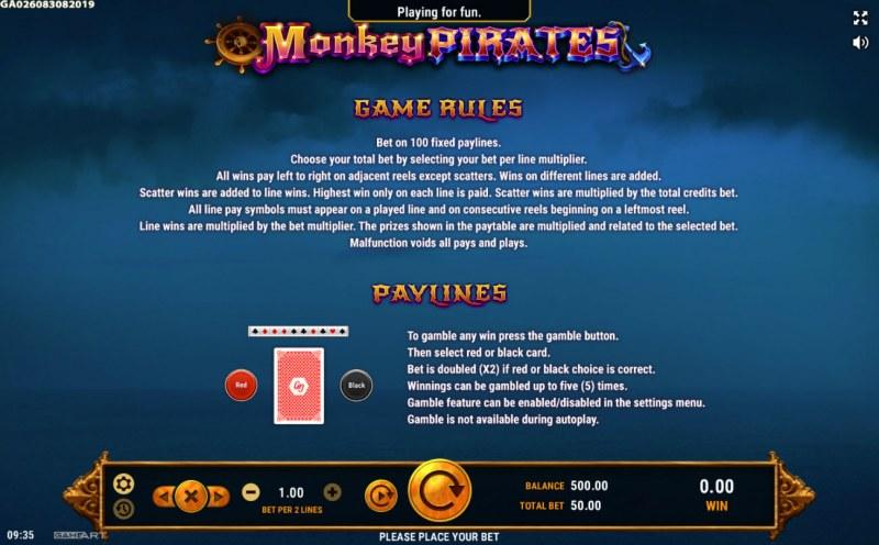 Monkey Pirates :: Gamble Feature Rules