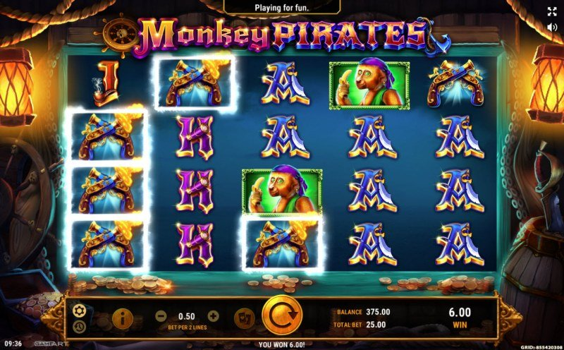 Play slots at Vegas Crest: Vegas Crest featuring the Video Slots Monkey Pirates with a maximum payout of $50,000