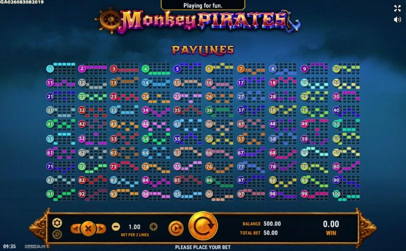 Monkey Pirates :: Paylines 1-100