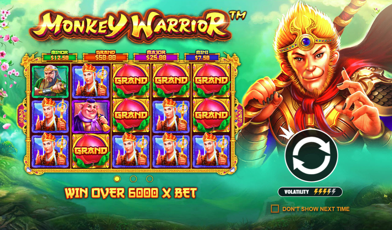 Play slots at Wild Jackpots: Wild Jackpots featuring the Video Slots Monkey Warrior with a maximum payout of $760,000