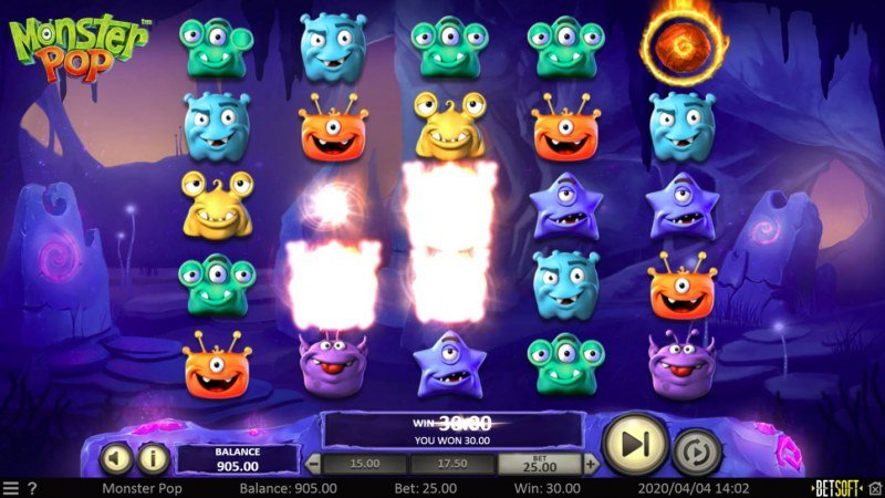 Monster Pop :: Winning symbols are removed from the reels and new symbols drop in place