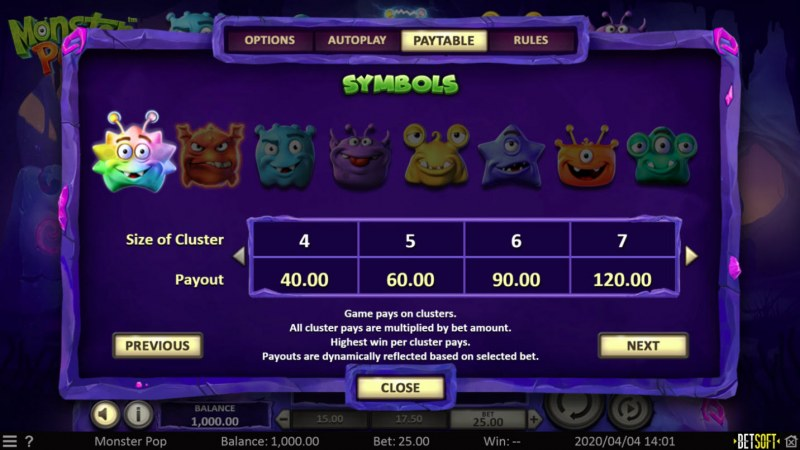 Monster Pop :: Paytable